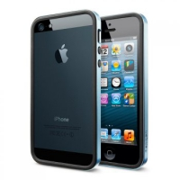 Бампер SGP Neo Hybrid EX Slim Metal для iPhone 5/5S Blue крупнее