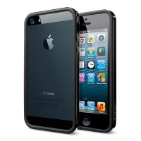 Бампер SGP Neo Hybrid EX Slim Metal для iPhone 5/5S Black крупнее