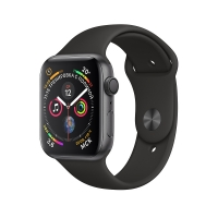 Apple Watch Series 4 44mm Space Gray Aluminum Case with Black Sport Band (MU6D2) крупнее